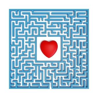 Bovenaanzicht van een rood hart in het midden van een doolhof geïsoleerd op een witte achtergrond.