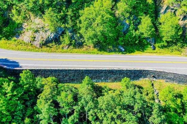 Bovenaanzicht van een weg door de groene bossen in de bergen van virginia