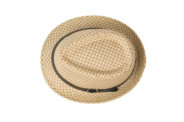 Bovenaanzicht van een zomer heren hoed geïsoleerd. klassieke hoofdtooi voor heren.