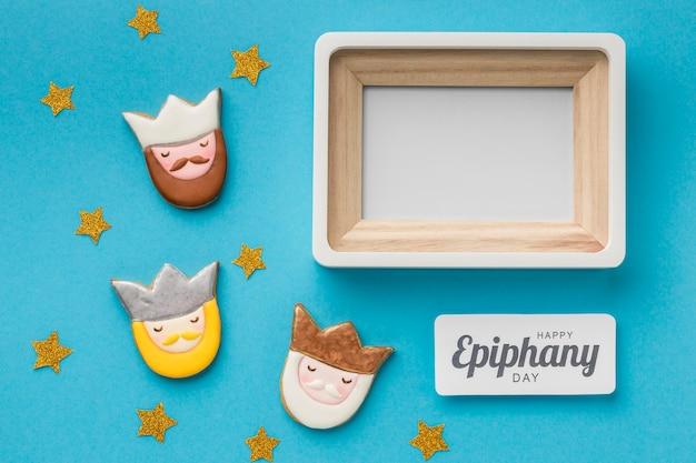 Bovenaanzicht van frame met drie koningen voor epiphany-dag