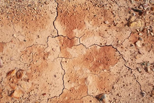 Bovenaanzicht van gebarsten en dorre grond.