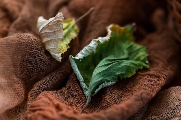 Bovenaanzicht van gedroogde herfstbladeren op een donkerbruine tafel