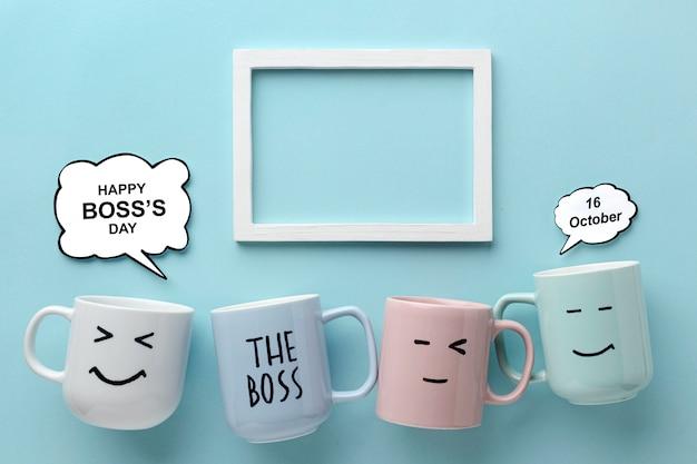 Bovenaanzicht van gelukkig baas dag concept