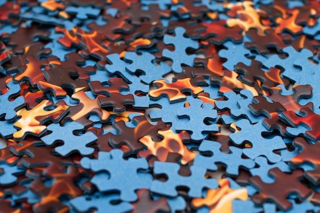 Bovenaanzicht van gemengde stukken van een puzzeltextuurachtergrond texture