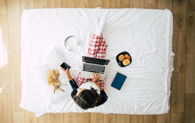 Bovenaanzicht van gemiddelde lengte foto van een jonge brunette vrouw in vrijetijdskleding terwijl ze met een laptop in bed werkt. gelukkig meisje studeren met een hond thuis