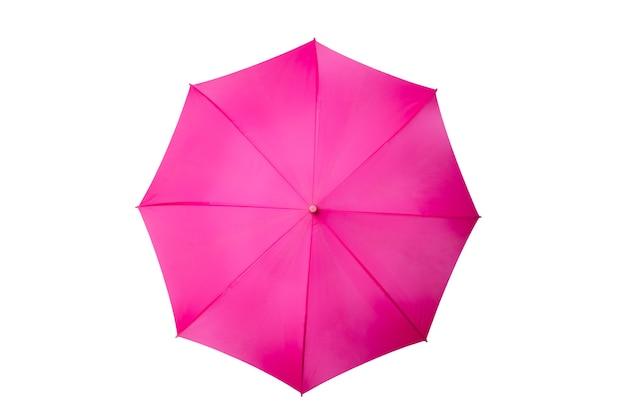 Bovenaanzicht van geopende zwarte paraplu geïsoleerd op een witte achtergrond