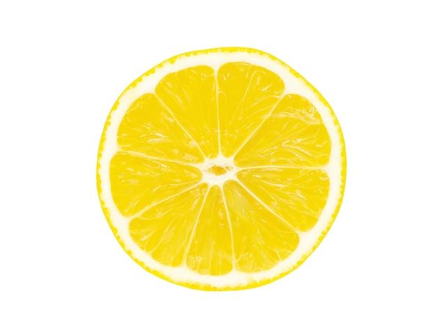 Bovenaanzicht van getextureerde schijfje citroen geïsoleerd op een witte achtergrond