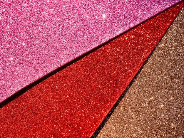 Bovenaanzicht van glitter texturen
