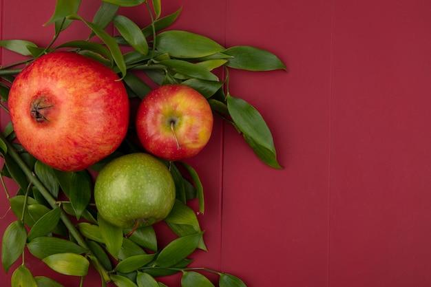 Bovenaanzicht van granaatappel met appels en bladtakken op een rode ondergrond
