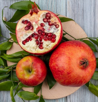 Bovenaanzicht van granaatappel met een appel op een stand met bladtakken op een grijze ondergrond