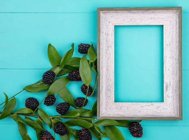 Bovenaanzicht van grijs frame met braambes en tak met bladeren op een turkoois oppervlak