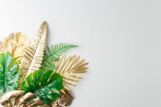 Bovenaanzicht van groene en gouden tropische palmbladeren op witte achtergrond