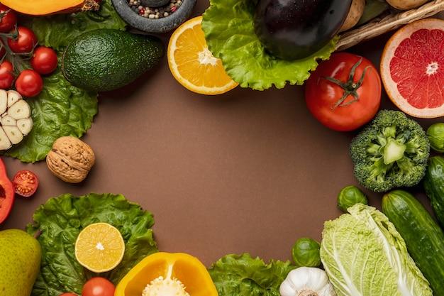 Bovenaanzicht van groenten met kopie ruimte