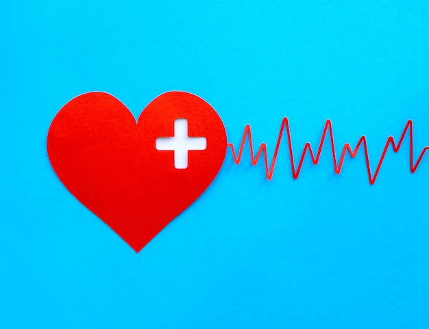 Bovenaanzicht van hartvorm met hartslag