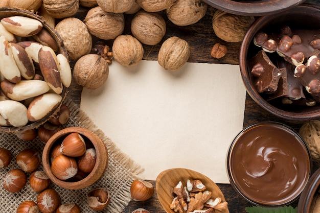 Bovenaanzicht van heerlijke hazelnootchocolade