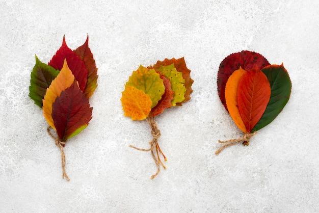 Bovenaanzicht van herfst boeketten van bladeren met touwtje