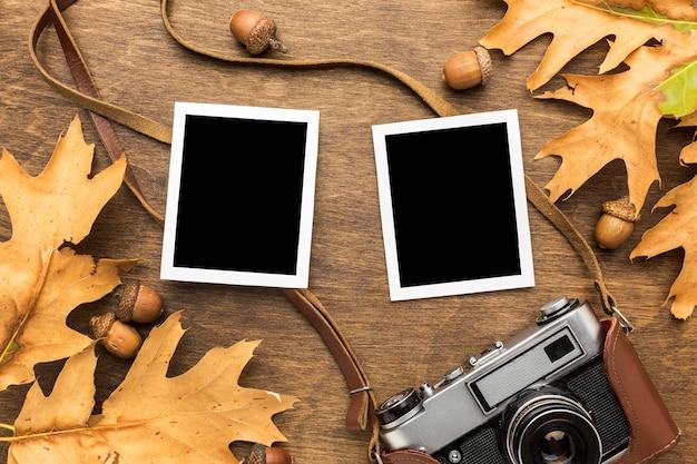 Bovenaanzicht van herfstbladeren met camera en foto's