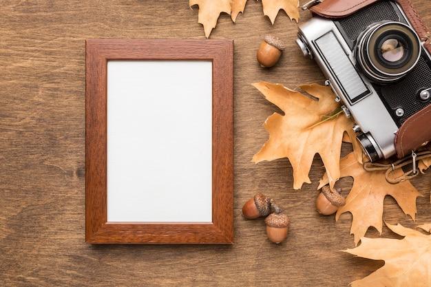 Bovenaanzicht van herfstbladeren met camera en frame