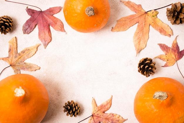 Bovenaanzicht van herfstbladeren met dennenappels