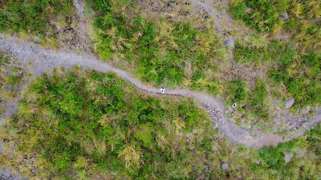 Bovenaanzicht van het pad bij kaliadem mount merapi