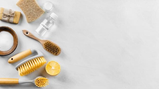 Bovenaanzicht van het reinigen van borstels met citroen en kopie ruimte