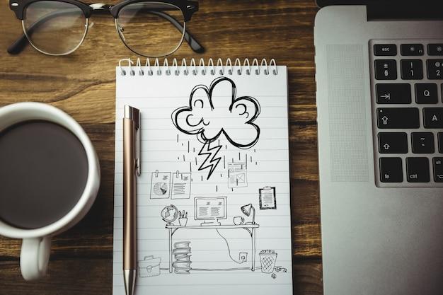 Bovenaanzicht van het tekenen van een werkplek's