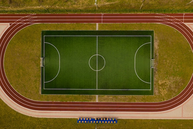 Bovenaanzicht van het voetbalveld