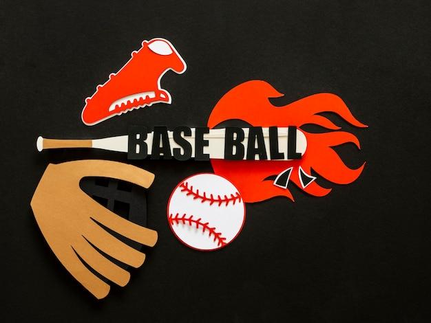 Bovenaanzicht van honkbal met knuppel en handschoen