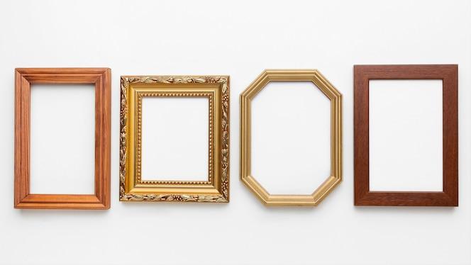 Bovenaanzicht van houten kaders arrangement