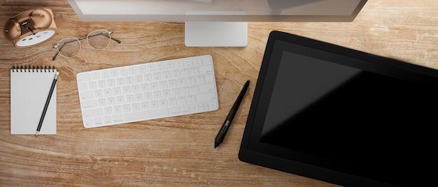 Bovenaanzicht van houten tafel met computerapparaat en tekentablet 3d-rendering