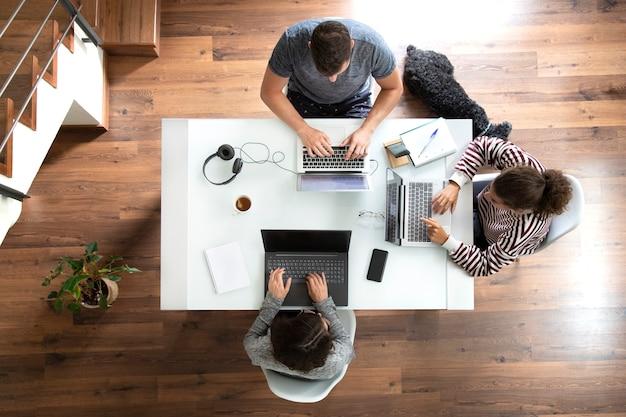 Bovenaanzicht van jonge mensen die thuis werken met laptops op een wit bureau met een slapende hond