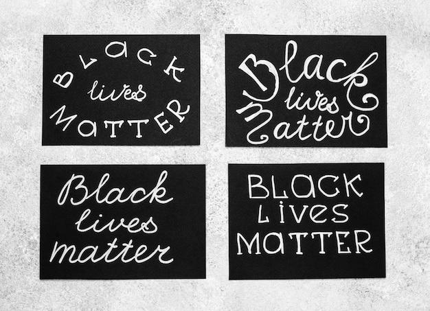 Bovenaanzicht van kaarten met zwarte levens zijn belangrijk