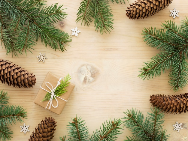 Bovenaanzicht van kerst concept met kopie ruimte