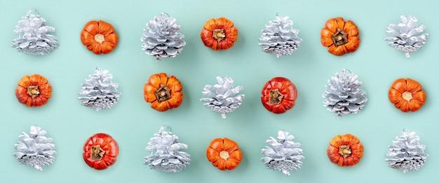 Bovenaanzicht van kerstvakantie samenstelling van feestelijke ornament decor flatlay