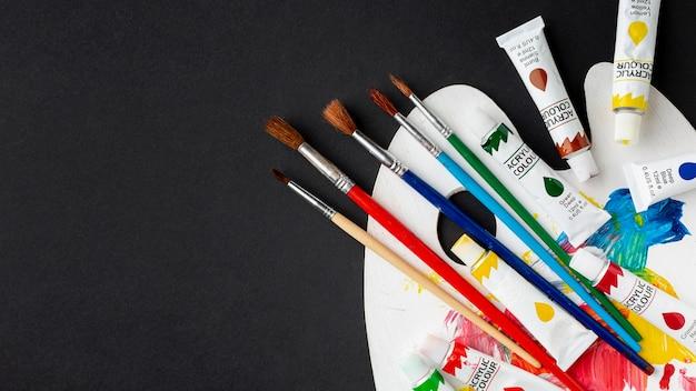 Bovenaanzicht van kleurrijke aquarel met kopie ruimte
