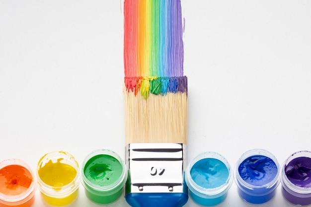 Bovenaanzicht van kleurrijke aquarelle