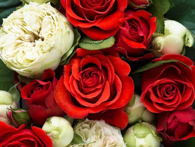 Bovenaanzicht van kleurrijke bloemen