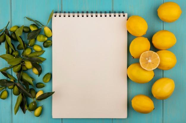 Bovenaanzicht van kleurrijke vruchten zoals kinkans en citroenen geïsoleerd op een blauwe houten ondergrond met kopie ruimte