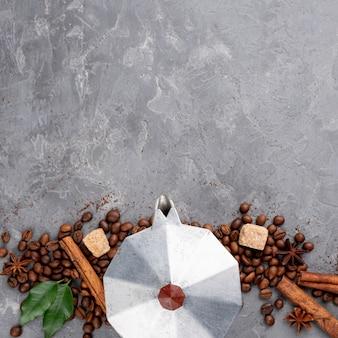 Bovenaanzicht van koffie met kopie ruimte