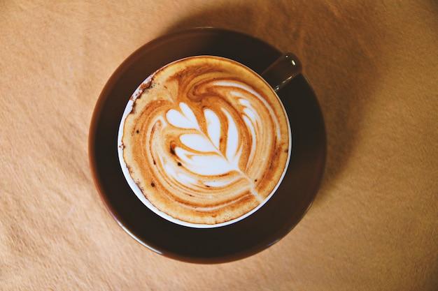 Bovenaanzicht van koffiekopje