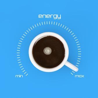 Bovenaanzicht van kopje zwarte koffie als energiecontrole bij maximale waarde op een gele achtergrond. 3d-rendering