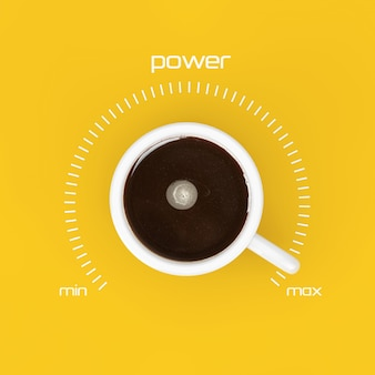 Bovenaanzicht van kopje zwarte koffie als vermogensregeling bij maximale waarde op een gele achtergrond. 3d-rendering