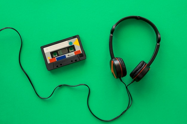Bovenaanzicht van koptelefoon muziek concept Premium Foto