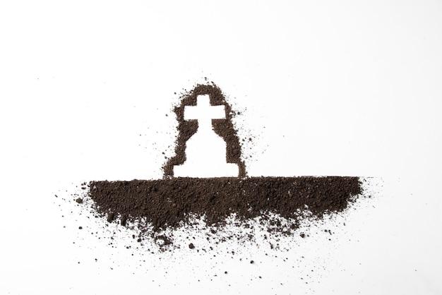 Bovenaanzicht van kruisvorm met donkere grond op wit