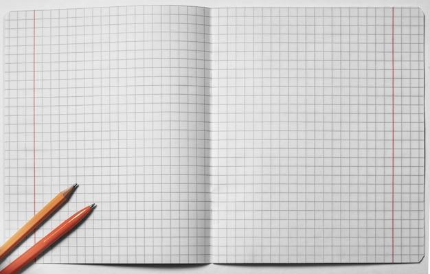 Bovenaanzicht van lege open gekwadrateerde notebook, pen en potlood op witte achtergrond. plat leggen, ruimte kopiëren. terug naar schoolconcept. bedrijfsconcept