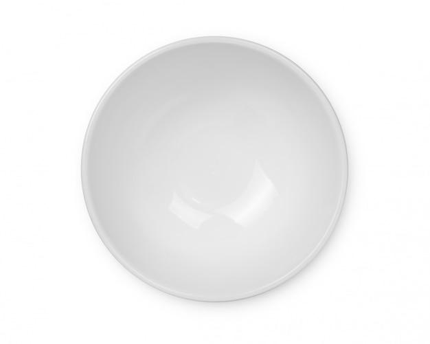 Bovenaanzicht van lege witte kom geïsoleerd op witte ruimte, met uitknippad.