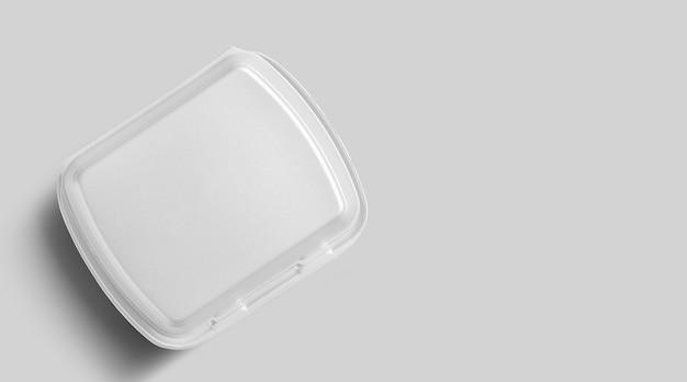 Bovenaanzicht van lege witte piepschuim geïsoleerd op grijs. eco-voedsel lunchconcept.