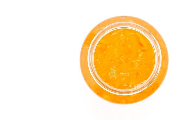 Bovenaanzicht van lekkere sinaasappelmarmelade