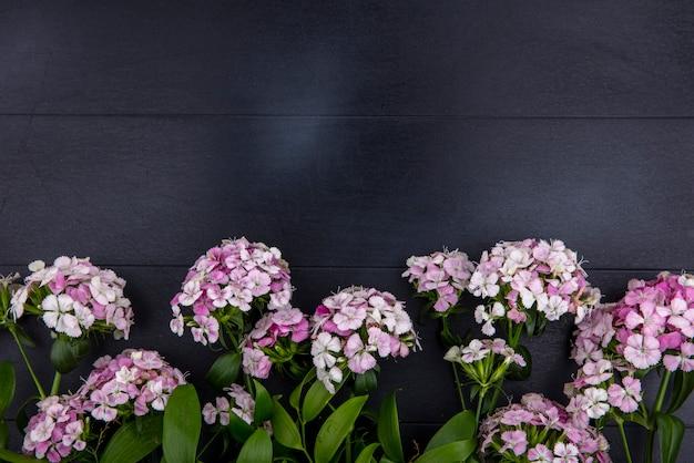 Bovenaanzicht van lichtpaarse bloemen op een zwarte ondergrond
