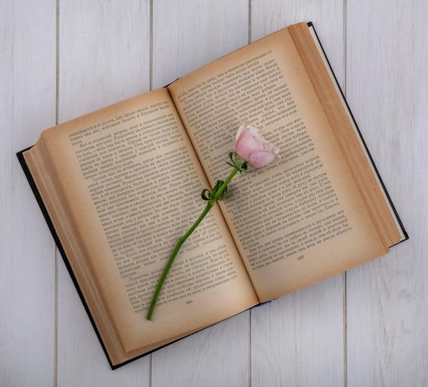 Bovenaanzicht van lichtroze roos op een open boek op een grijze ondergrond